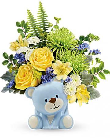 Teleflora's Joyful Blue Bear Bouquet