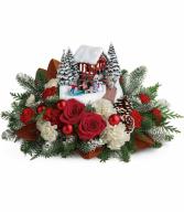Teleflora's Kinkade's Snowfall Dreams Bouquet Christmas arrangement