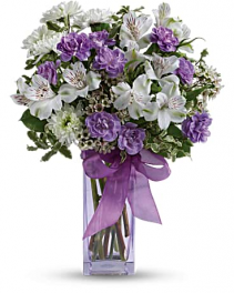 Teleflora's lavender laughter bouquet  vase arrangement
