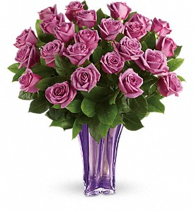 Teleflora's Lavender Splendor Bouquet 24 Fresh Lavender Roses in a Collectible Vase