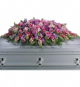 Teleflora S Lavender Tribute Casket Spray Sympathy Arrangement In Auburndale Fl The House Of Flowers