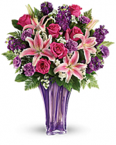 Teleflora's Lavish and Lavender Bouquet Beautiful Lavender Glass vase with fresh flowers