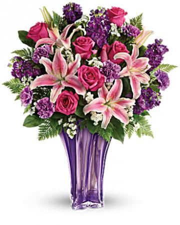 Teleflora's Lavish and Lavender Bouquet Beautiful Lavender Glass vase with fresh flowers