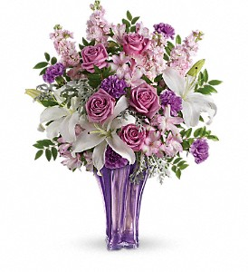 Teleflora's Lavished in Lilies Beautiful Lavender Glass Vase With Fresh Flowers