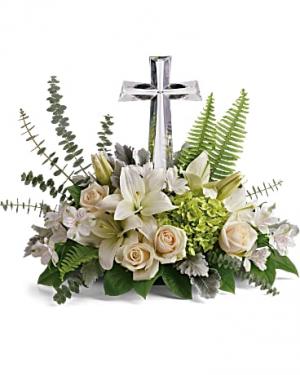 "Teleflora's Life's Glory 10"" Crystal Cross Fresh Arrangement with a Teleflora Keepsake in Auburndale, FL | The House of Flowers"