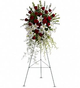 Teleflora's Lily and Rose Tribute Spray Standing Spray in Auburndale, FL | The House of Flowers