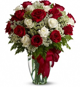 Teleflora's Love Divine Bouquet  20 Red & White Roses Vased Arrangement