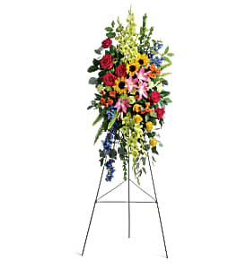 Teleflora's Love Lives On Standing Spray Sympathy in Auburndale, FL | The House of Flowers