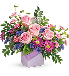 Teleflora's Love Squared PM Fresh Arrangement in a Keepsake Container