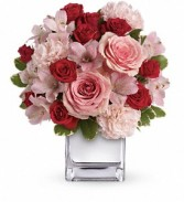 Teleflora's Love That Pink cube arrangement fresh