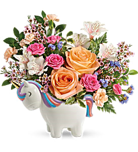 Teleflora's Magical Garden Unicorn Fresh Flowers in Keepsake Container