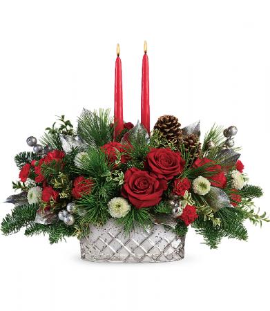 Teleflora's Merry Mercury Centerpiece Christmas Arrangement