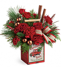 Teleflora's Merry Vintage Christmas Distressed metal cube