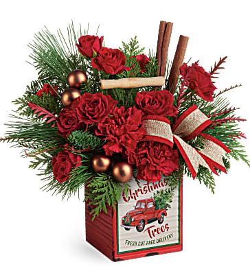 Teleflora's Merry Vintage Christmas Distressed metal cube