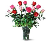 Teleflora's Mixed Dozen Roses Vased Arrangement