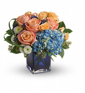 Teleflora's Modern Blush Fresh Flowers in a Keepsake Cube