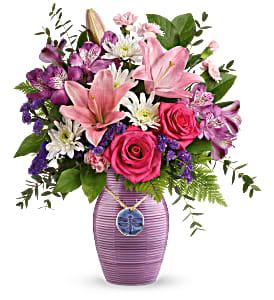 Teleflora's My Darling Dragonfly Bouquet Fresh Flowers in a Keepsake Vase