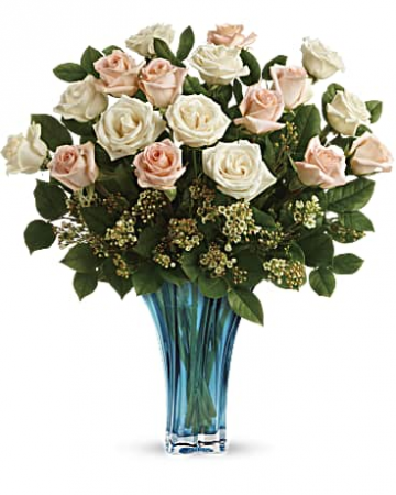 Teleflora's Ocean of Roses Bouquet 24 mixed peach and white Roses vased