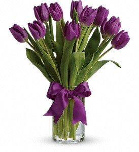 Teleflora's Passionate Purple Tulips Vased Arrangement