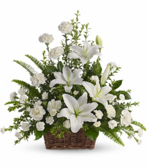 Peaceful White Lilies Sympathy Arrangement in Middletown, IN | The Flower Girl