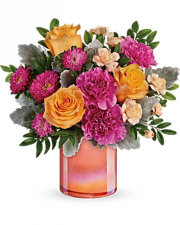 Teleflora's Perfect Spring Peach vase arrangement