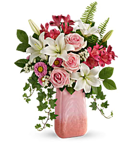 Teleflora's Pink n' Peach Parade Bouquet Fresh Flowers in a Keepsake Vase