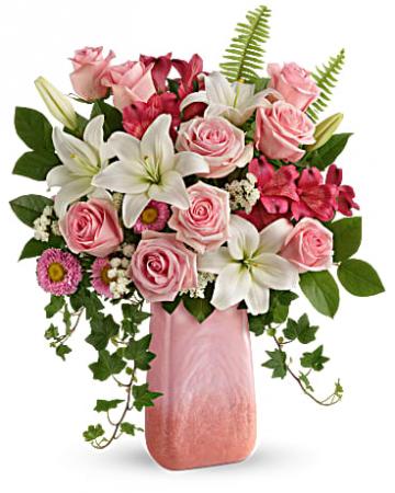 Teleflora's Pink N' Peach PParadise Bouquet Vase Arrangement