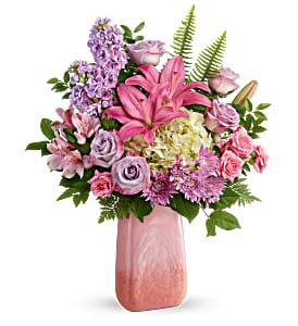 Teleflora's Pleasing Pastels Bouquet Fresh Flowers in a Keepsake Vase