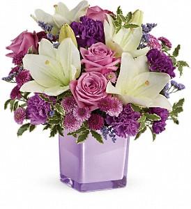 Teleflora's Pleasing Purple Cube arrangement-fresh