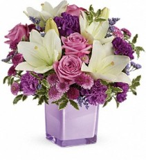 Teleflora's Pleasing Purple cube arrangement fresh