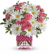 Teleflora's Polka Dots and Posies cube arrangement fresh