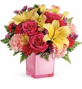 Teleflora's Pop Of Fun cube arrangement fresh