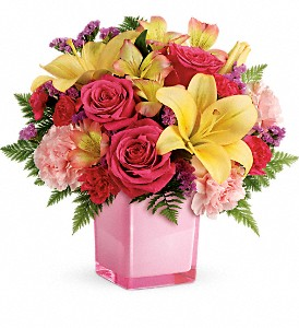 Teleflora's Pop Of Fun Fresh Flowers in a Keepsake Cube