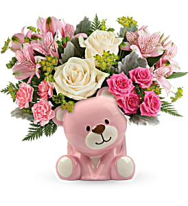 Teleflora's Precious Pink Bear  in Florenceville Bristol, NB | JT's Flowers