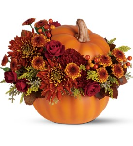 Teleflora's Prize Pumpkin Bouquet Fresh Arrangement in a Keepsake Container