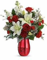 Teleflora's Radiantly Rouge Ceramic Vase With Mirrored Finish