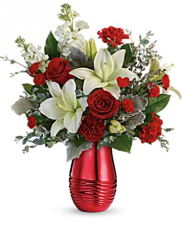 Teleflora's Radiantly Rouge vase arrangement