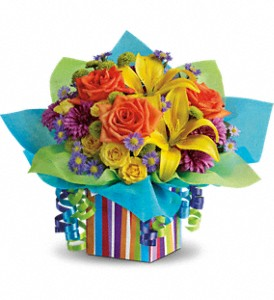 Teleflora's Rainbow Present T23-1A Bouquet in Moses Lake, WA | FLORAL OCCASIONS