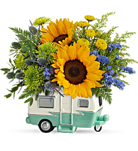 Teleflora's Retro Road Tripper Fresh Arrangement in a Keepsake Container in Auburndale, FL | The House of Flowers