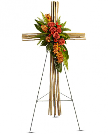 Teleflora's River Cane Cross Standing Spray