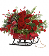 Teleflora's Rosy Sleigh Holiday Arrangement