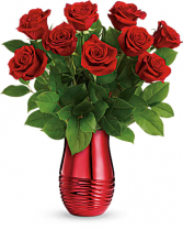 Teleflora's Rouge Romance Bouquet Fresh Arrangement Valentines