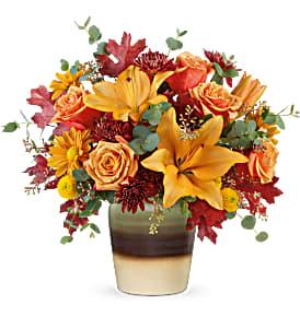 Teleflora's Rustic Sunset Bouquet Fresh Flowers in a Keepsake Cube