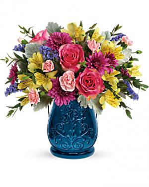 Teleflora's Sapphire Garden Bouquet* upgrade Fresh Mixed Flower Arrangement in Auburndale, FL | The House of Flowers