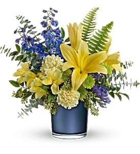 Teleflora's Sapphire Sunrise Bouquet  Fresh Arrangement in a Keepsake Container
