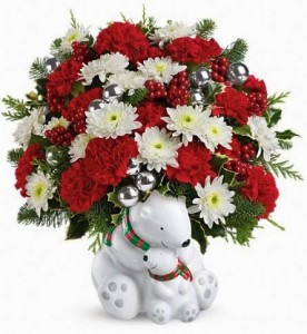 Teleflora's Send a Hug Cuddle Bears Bouquet Holiday Arrangement
