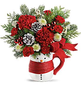 Teleflora's Send a Hug Snowman Mug Bouquet Fresh Flower with Keepsake