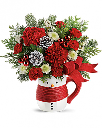 Teleflora's Send a Hug Snowman Mug Fresh Arrangement