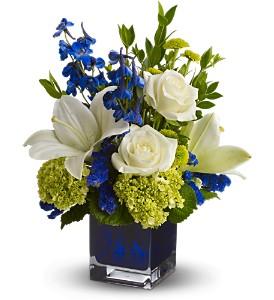 Teleflora's Serenade in Blue Fresh Flowers in a Keepsake Cube