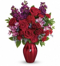 Teleflora's Shining Heart Bouquet Red Purple